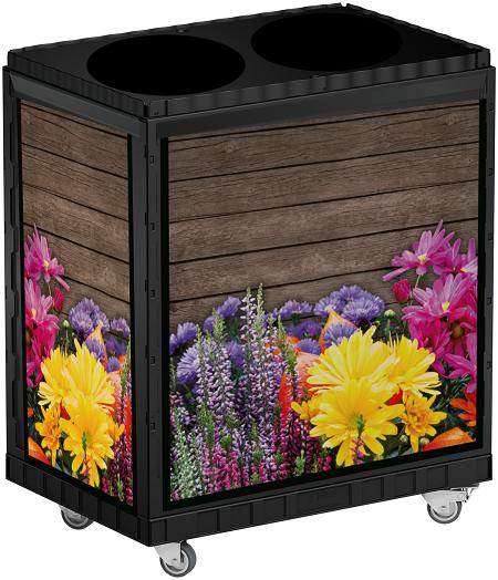 Smart Blumen Display 75 cm schwarz mit Forex Blumen Motiv