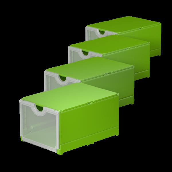 Plusbox grün - Frontklappe transparent
