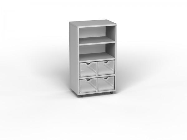Smart Shelf 2x4 (B 57xH 98xT 40) auf Rollen lichtgrau