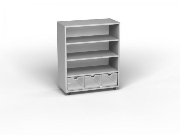 Smart Shelf 3x4 (B 84xH 98xT 40) auf Rollen lichtgrau